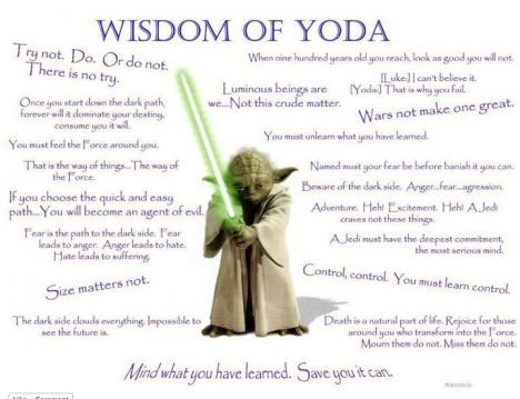 Wisdom Of Yoda Star Wars Quotes Yoda Quotes Star Wars Yoda