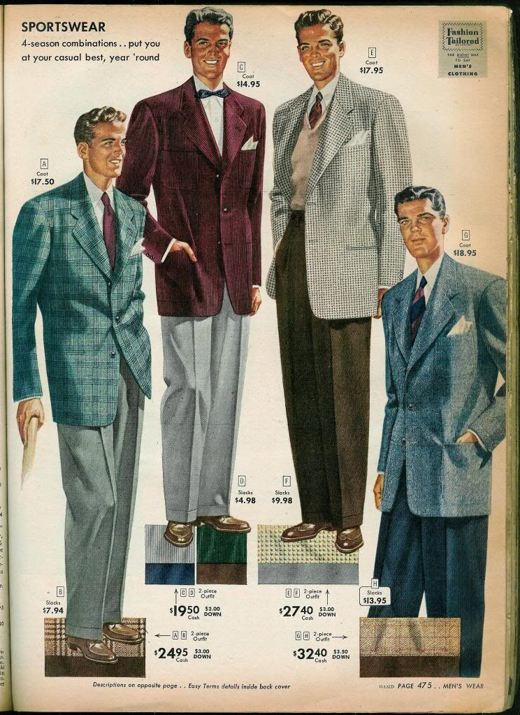 Äntligen ett bevis på att slipoverns ska bäras nedstucken i byxan. Ur Sears höstkatalog 1949
