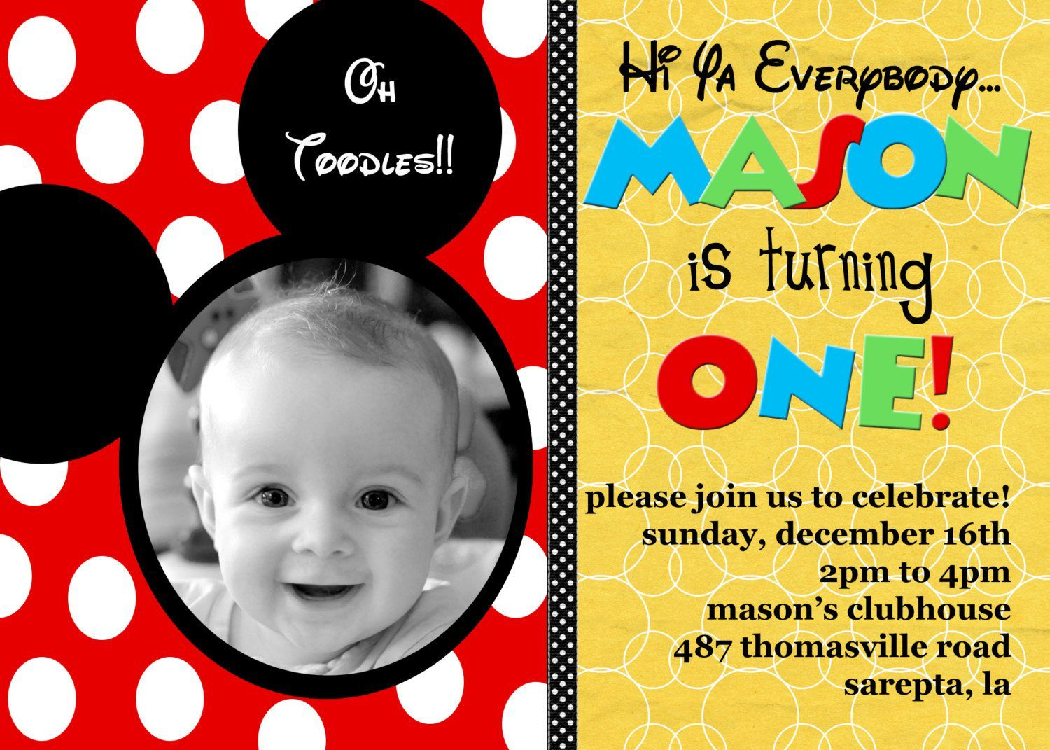 Free Printable Mickey Mouse Birthday Invitation Cards