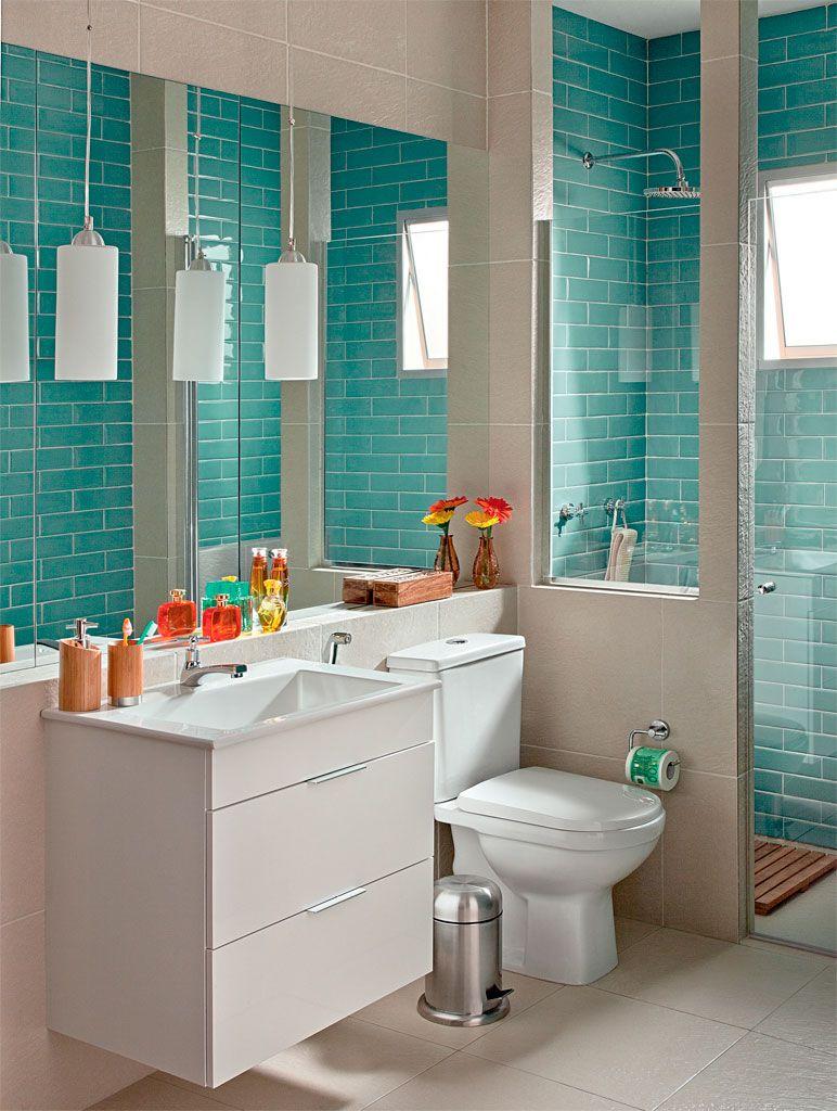 Banheiro elegante vestido com os azulejos da moda por 10 X R$ 309  Bath, Int -> Ambiente Banheiro Decorado