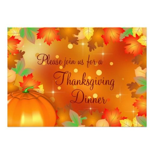 Colorful Autumn Leaves - Thanksgiving Invitation