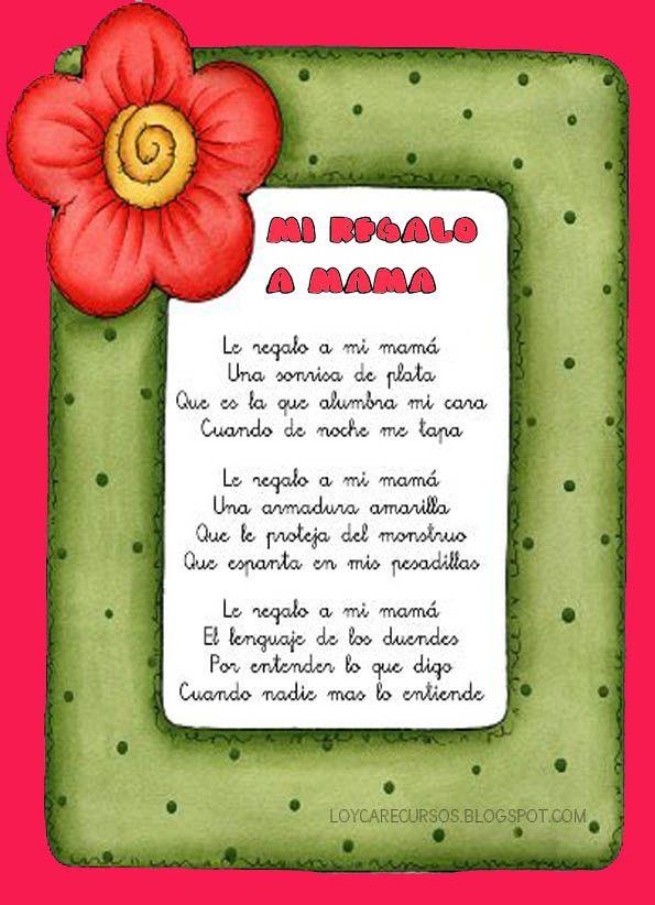 Recursos De Educacion Infantil Poesías Para El Día De La Madre Ii Tarjetas Dia Del Niño Dia De Las Madres Poema Para La Madre
