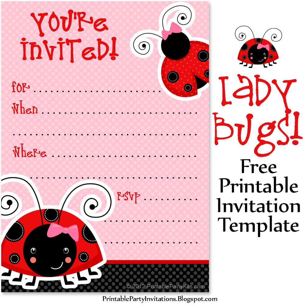 free ladybug invite template   free printable party invitations   printable  birthday invitations, ladybug birthday invitations, free printable party  invitations  pinterest