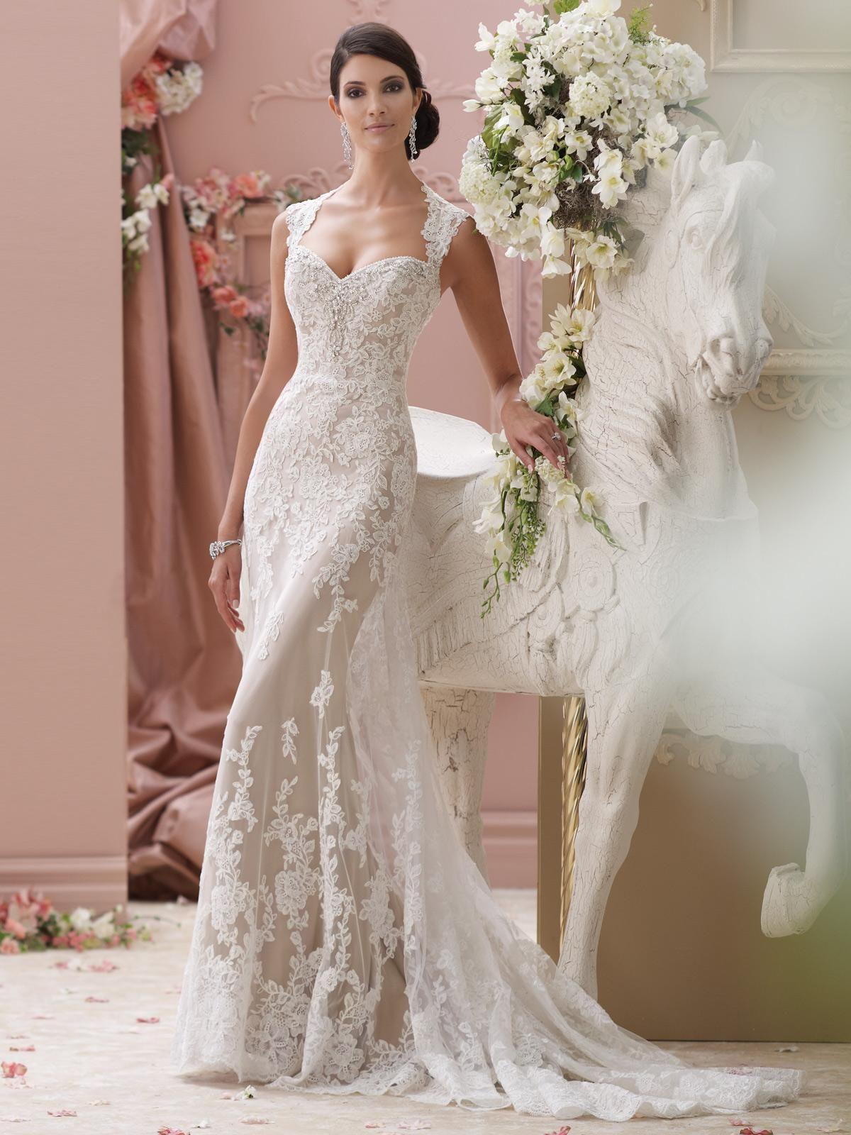Deep Queen Anne Neckline Keyhole Back Slim A Line Wedding Dress