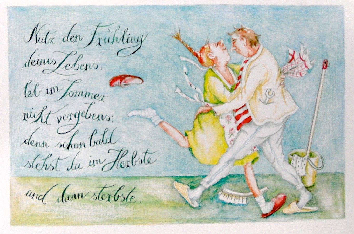 Christina Thran Briefkarte Nutz Den Fruhling Deines Lebens Christina Thran Kunstler Lustig Illustration Liebe Zitate Lustig Briefkarte