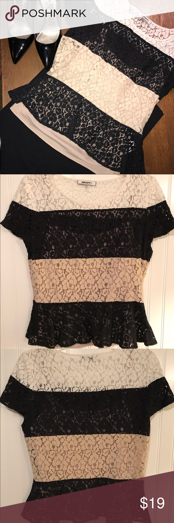 Lace color block DKNY blouse Like new condition! Has a buff colored tank top sewn in to shirt 💗 Dkny Tops