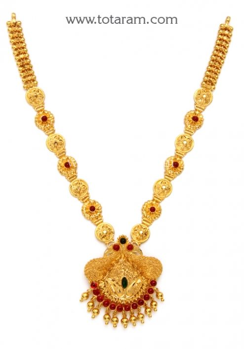 22K Gold Peacock Necklace Totaram Jewelers Buy Indian Gold