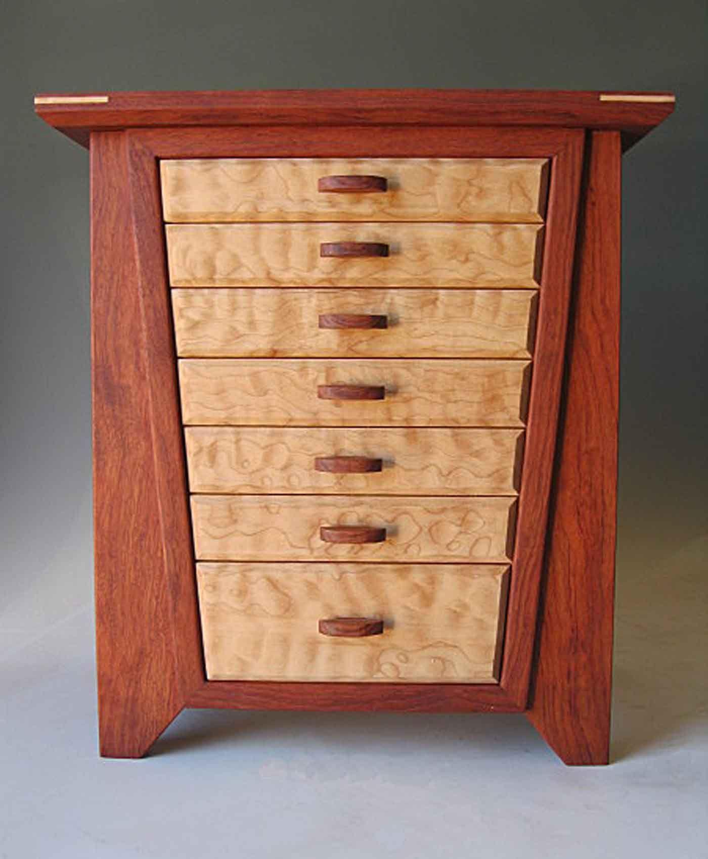 Handmade Quality Jewelry Box Made Of Bubinga Wood And Burl