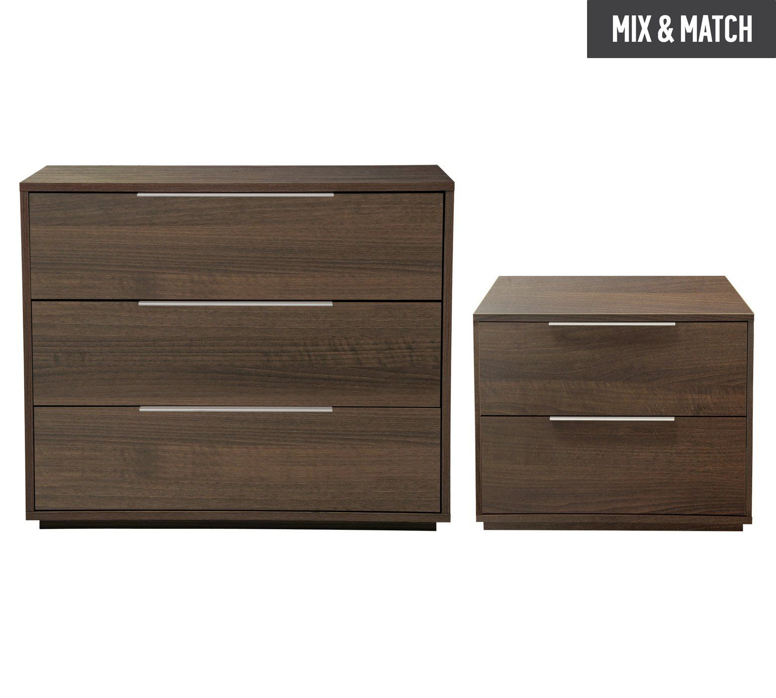 Buy Hygena Bergen Bedside & 4 Drawer Package - Walnut Effect at