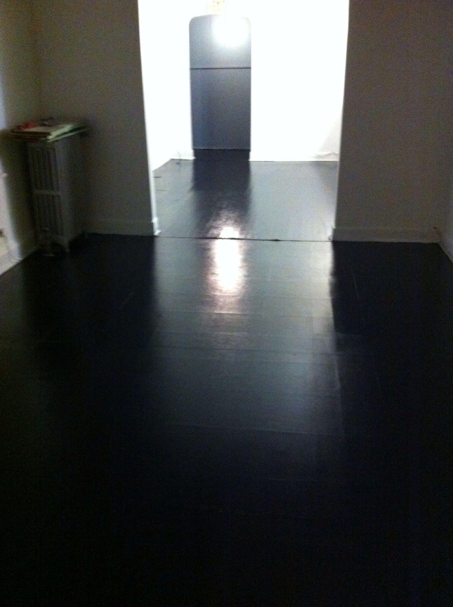 Painted Wood And Vinyl Floor Black High Gloss