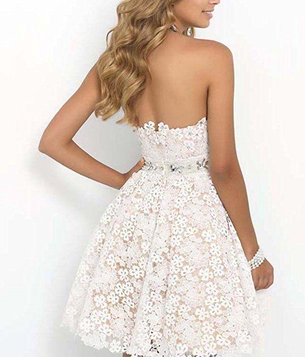YOGLY Damen Weiße Kleider Elegant Spitze Bandeau A-Linie Lace Tief V ...