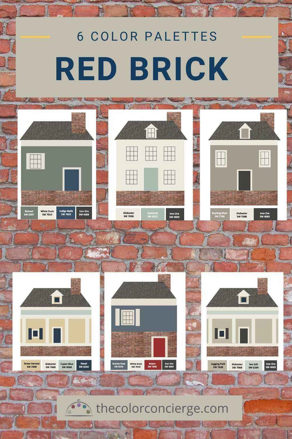 The Best Paint Color Palettes For Red Brick Houses Brick House Colors Exterior Paint Colors For House Red Brick House