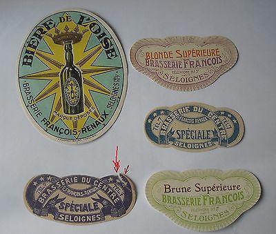 Lot de 5 etiquettes Brasserie Seloignes voir photos  mise en vente 1 fois