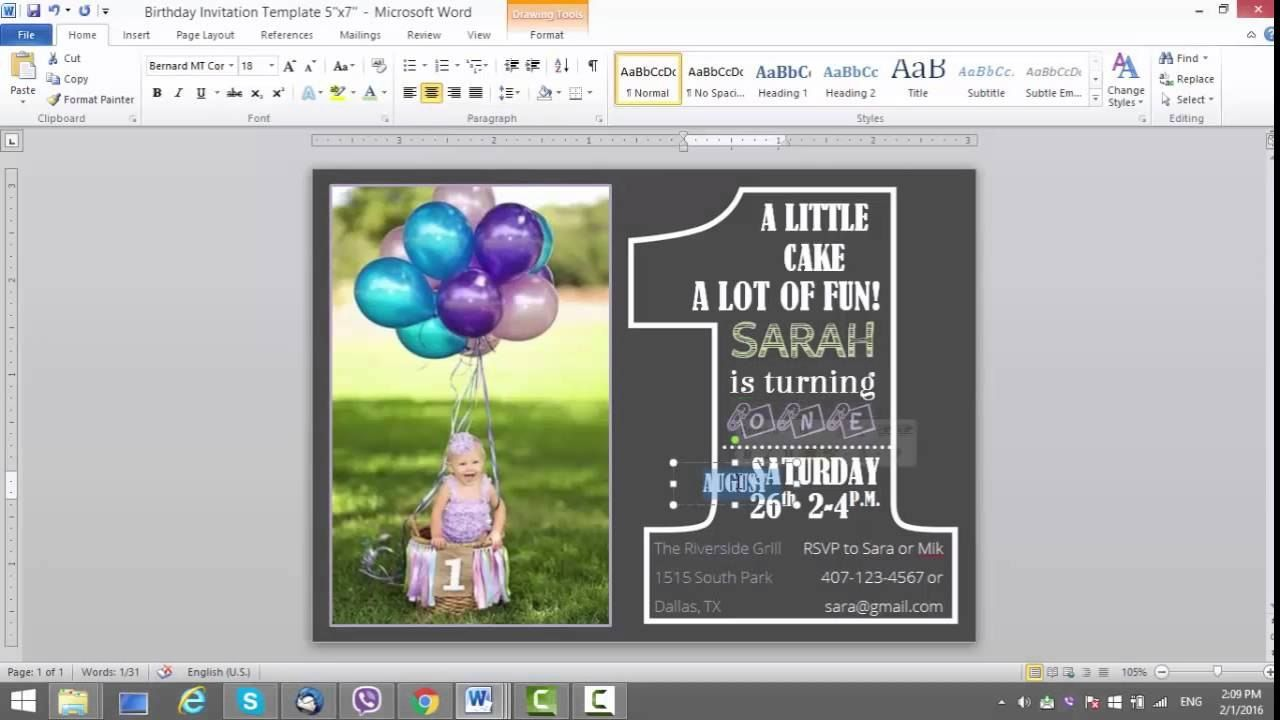 St Birthday Invitation Template For Ms Word Youtube Pertaining To Birthday Card P In 2020 Birthday Card Template 1st Birthday Invitation Template Party Invite Template