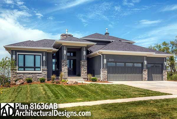 Plan 81636ab Amazing Prairie Style Home Plan Prairie Style Houses Craftsman Style House Plans Prarie Style Homes