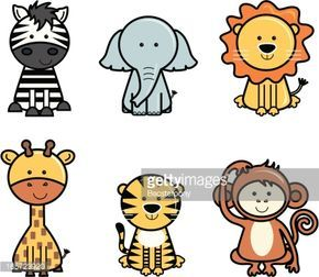 Set of isolated cute vector icons of jungle animals including zebra,…