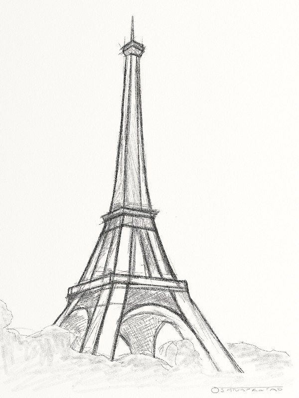 Eiffel Tower Pencil Sketch Eiffel Tower Paris - A...
