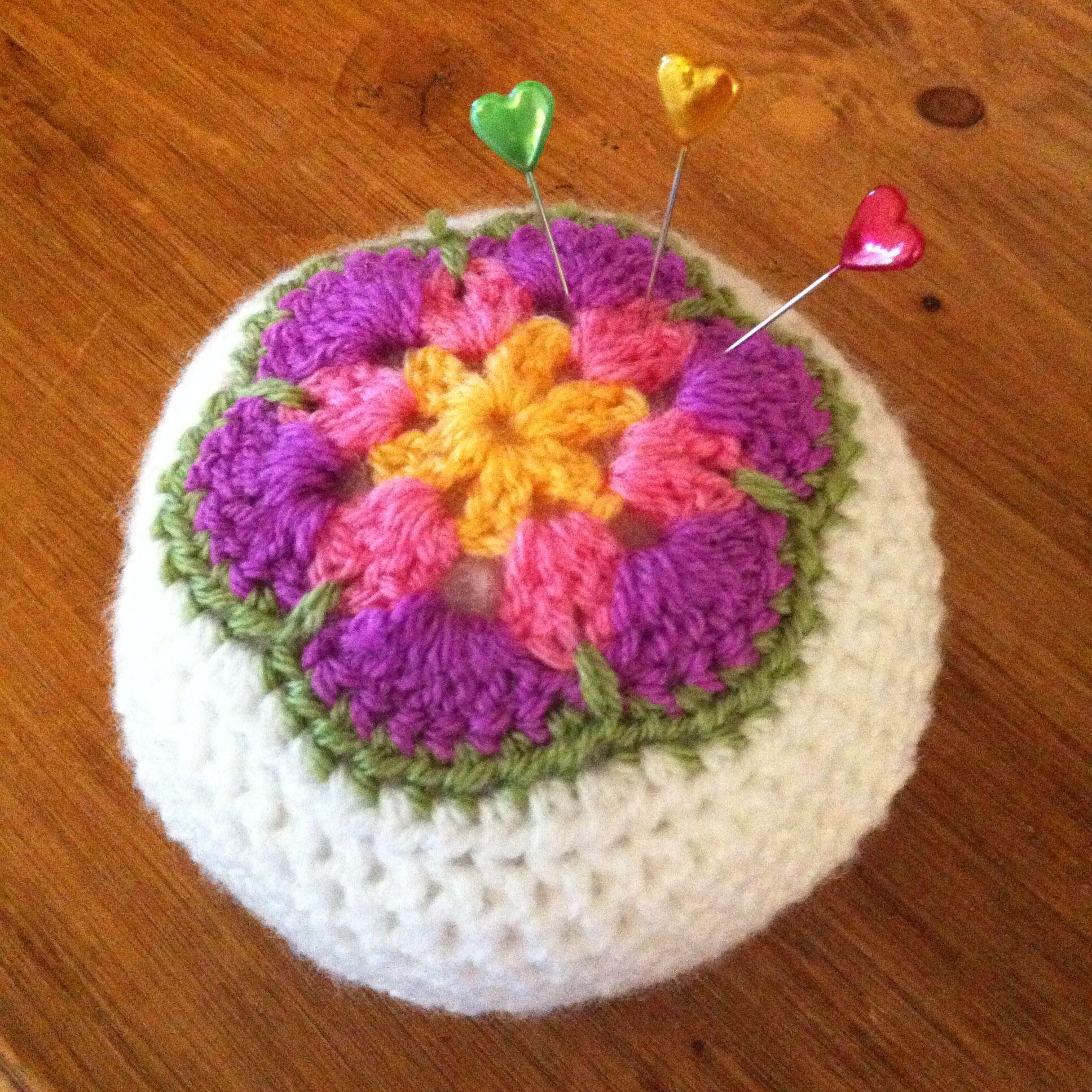 African Flower Crochet Pincushion Pattern From Sandra Cherry Heart