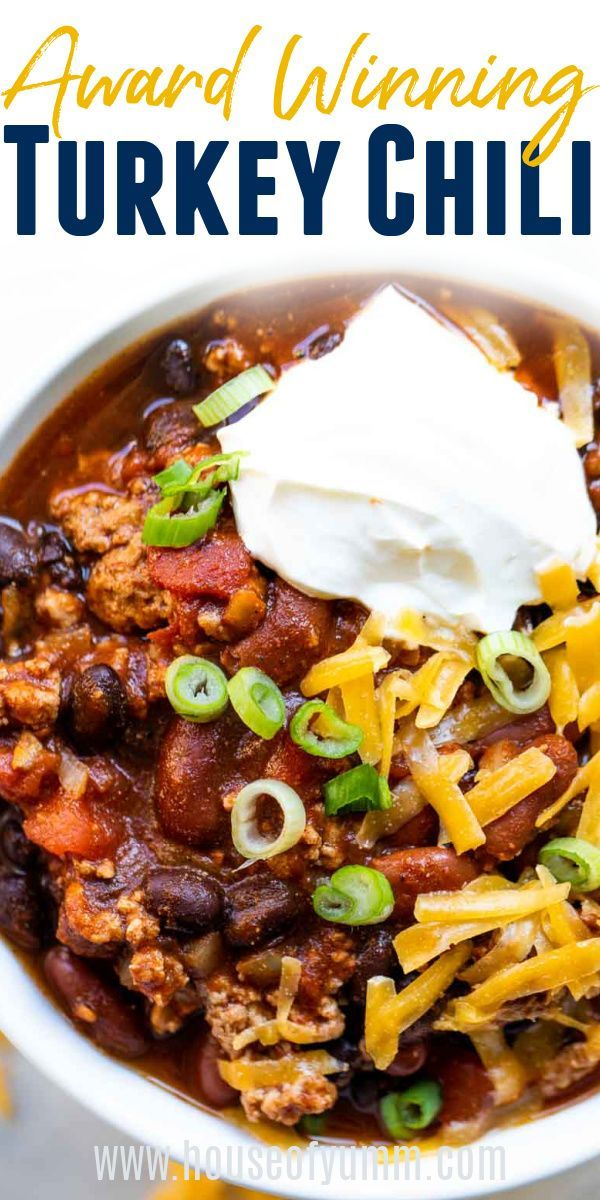 Award Winning Turkey Chili! This Turkey Chili is so thick and hearty and bursting with flavor.  This healthier chili recipe is loaded with tender beans, lean ground turkey, and the perfect blend of spice.