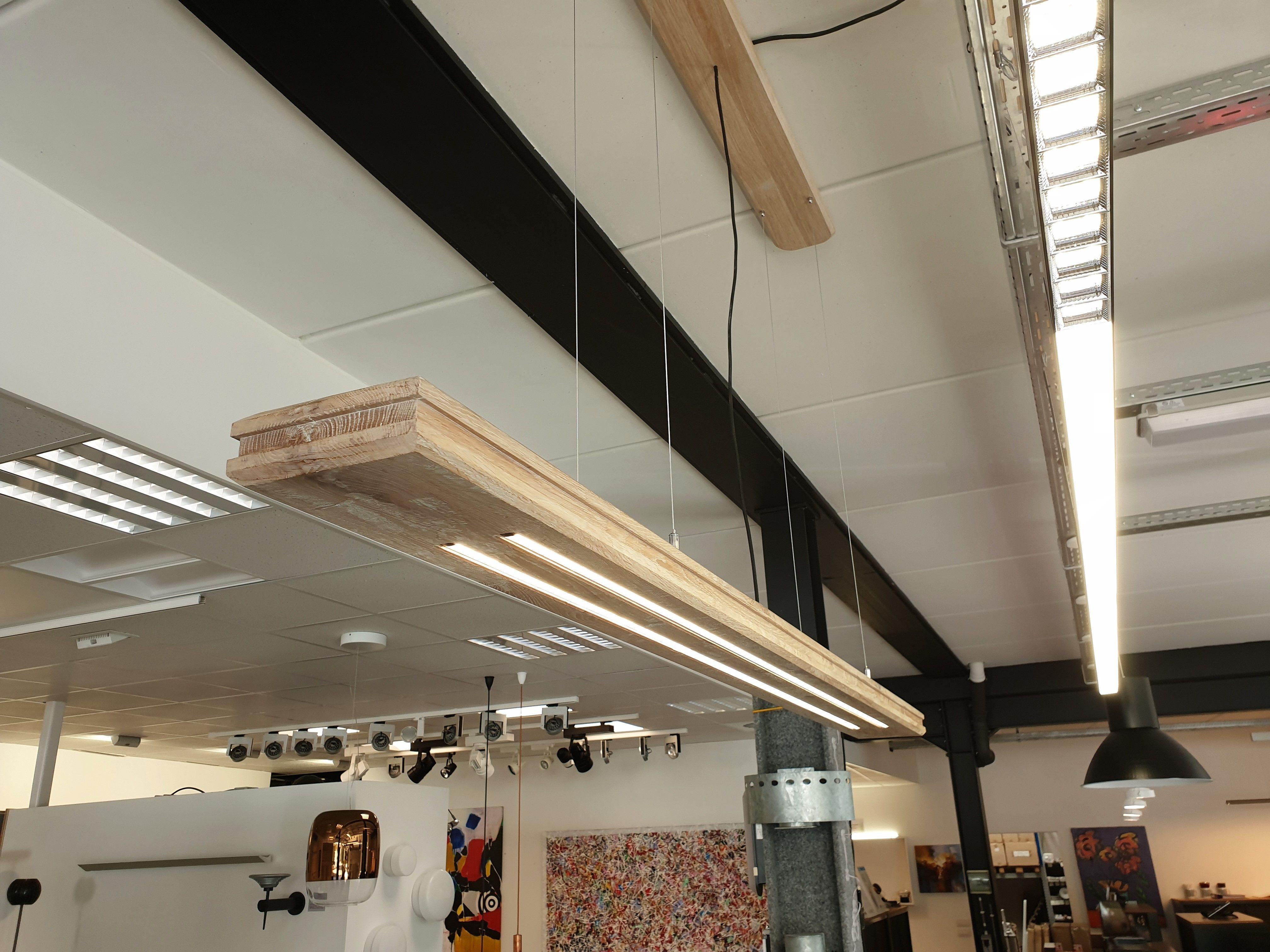 Oak Pendant Lamp With Led Strips Lampen