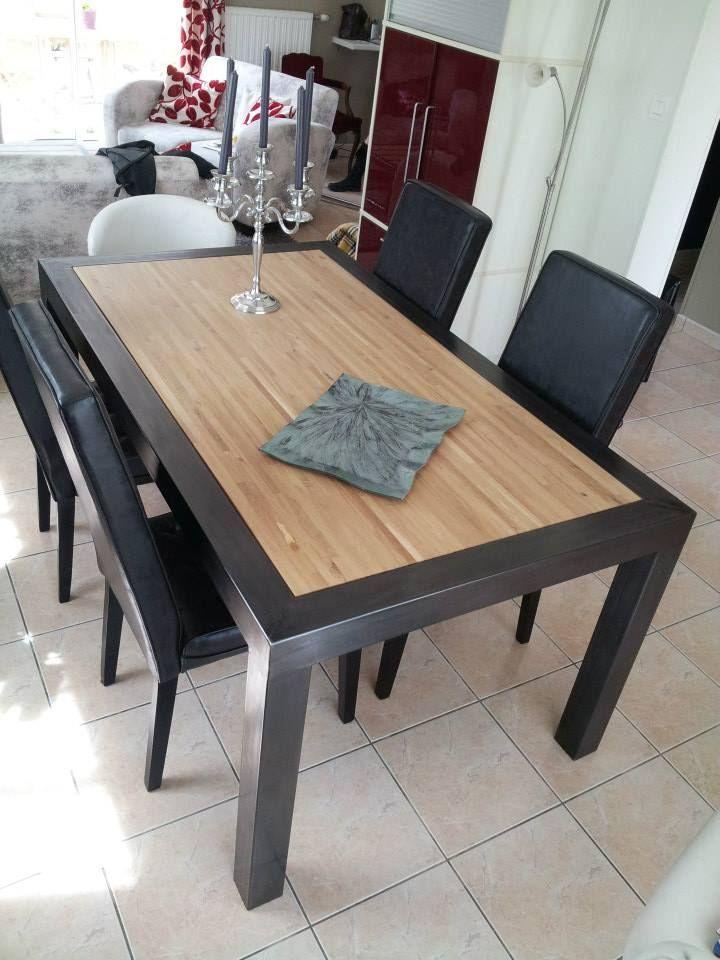 Table acier bois sur mesure table acier bois pinterest - Table a manger sur mesure ...