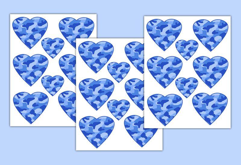 Blue Camo Heart Wall Art Decals Baby Girl Camouflage Nursery Teen Stickers Decor #decampstudios