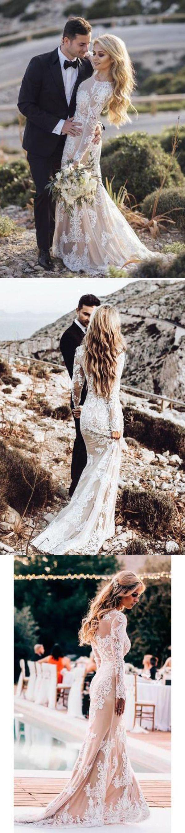 Langarm Rundhals Spitze Applique Brautkleider Vintage Meerjungfrau Hochzeitskleid #spitzeapplique