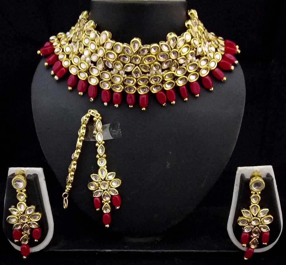 c8680d15b4083f Indian Ethnic Bollywood Celebrity Designer Kundan Bridal Red Choker Necklace  4pc Set. Material Copper Kundan Pearl. Height is choker. | eBay!