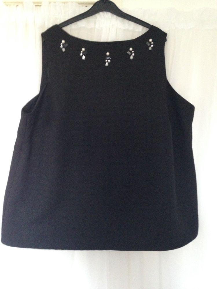 309d1b61 Womens Black Sleeveless Embellished Blouse Top Asda Evening Occasion Size 24  #fashion #clothing #