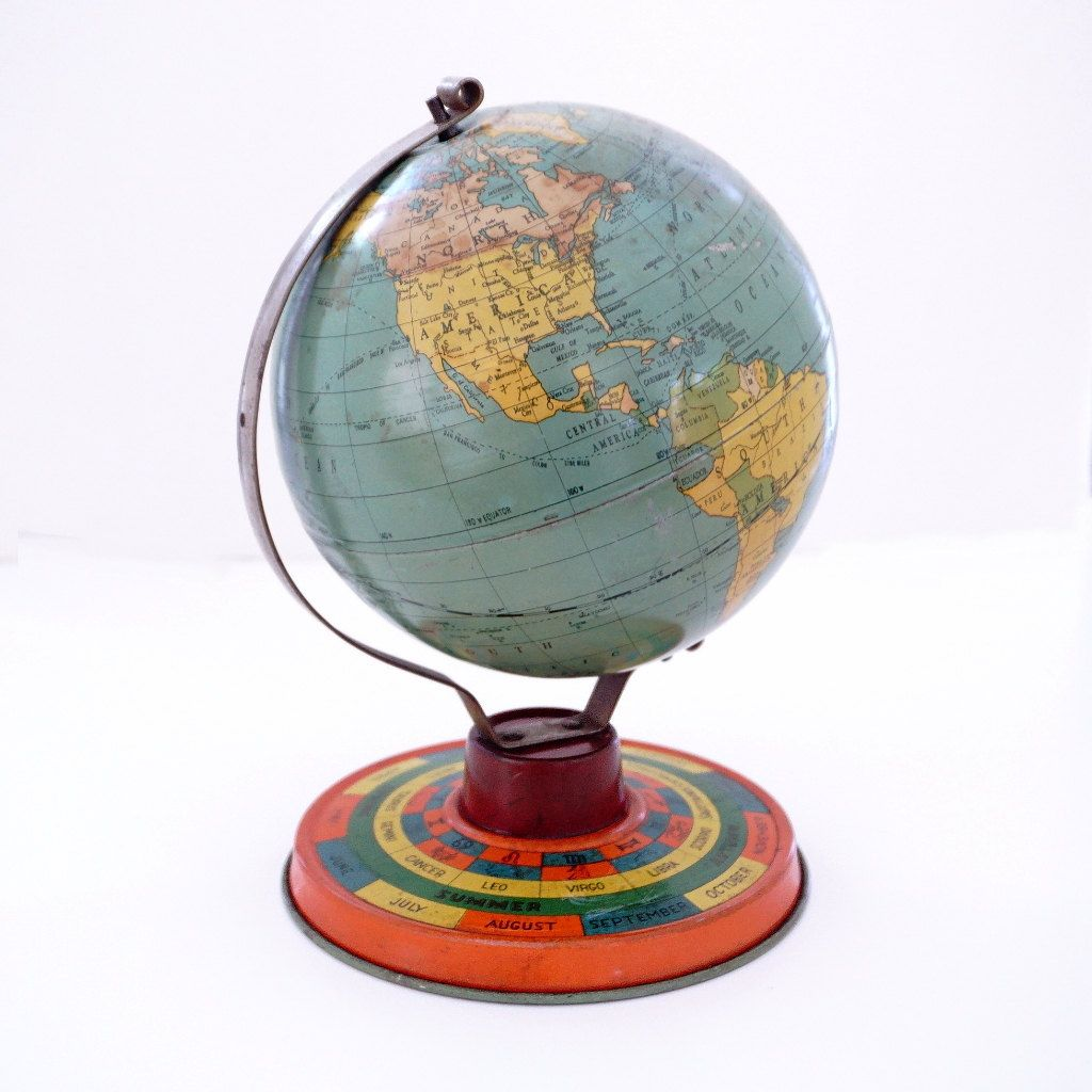 Tin Litho Globe Game, Mid-century World Globe with Zodiac Astrological Signs Base, Tin Toy Globe, Seasons and Months, Childs Tin Toy, 1950s by RetroRevival on Etsy