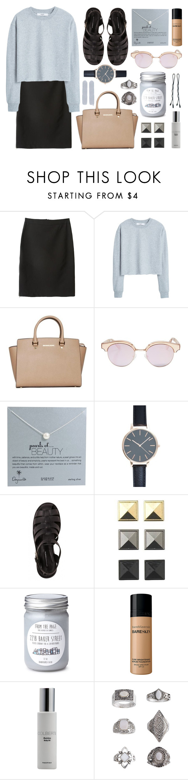 """""""Untitled #628"""" by rheeee ❤ liked on Polyvore featuring MANGO, MICHAEL Michael Kors, Le Specs, Dogeared Jewels, Bare Escentuals, Colbert MD and Topshop"""