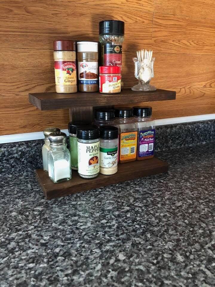 Countertop Spice Rack Rustic Spice Rack Spice Rack 2 Shelf