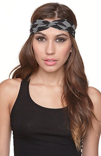 With Love From CA Black White Printed Headscarf