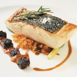 Sea Bass with Blood Sausage and Sea Urchins