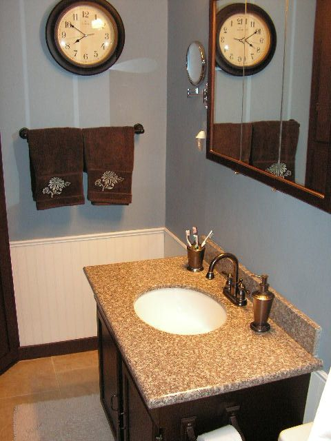 Pin On Indoor, Blue Brown Bathroom Ideas
