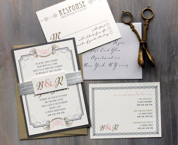 Art Deco Elegant Script Wedding Invitations Old Hollywood Wedding