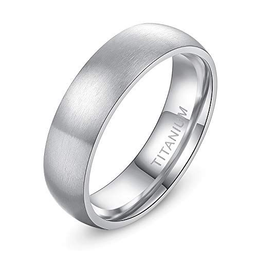 TIANYI 6MM Stainless Steel Mens Womens Wedding Band Ring Black High Polished Classy Domed Ring