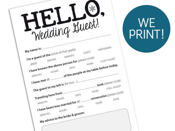 Funny Wedding Guest Marriage Advice Card For Reception Printable Pdf