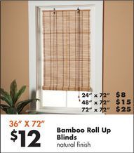 36 X 72 Bamboo Roll Up Blinds From Big Lots 12 00