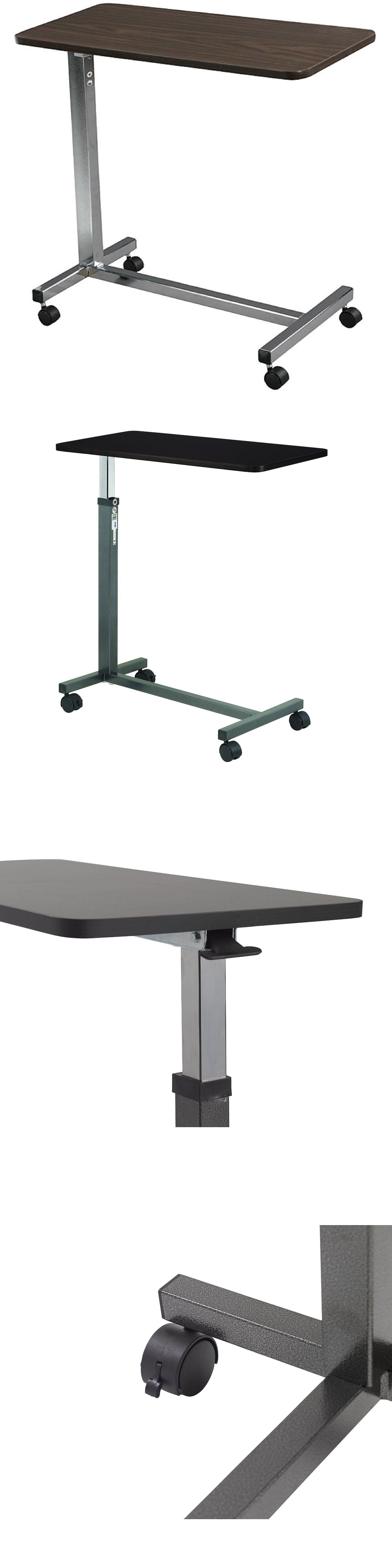 Overbed table food tray non tilt top bed hospital adjustable rolling - Other Daily Living Aids Overbed Table Food Tray Non Tilt Top Bed Hospital Adjustable