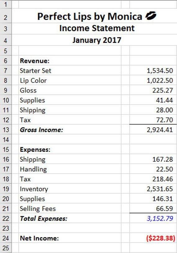 LipSense Accounting General Ledger Spreadsheet