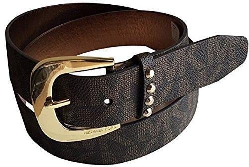 7318b52b2a0f ... new zealand michael kors mk signature logo jacquard brown belt goldtone  buckle m womens size medium