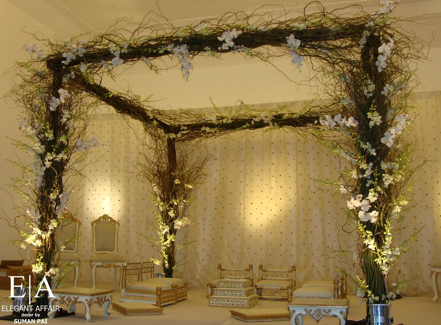 Curly willow square mandap orchids indian decor contemporary curly willow square mandap orchids indian decor contemporary mandap garden mandap curly willowgarden themegazebowedding junglespirit Gallery