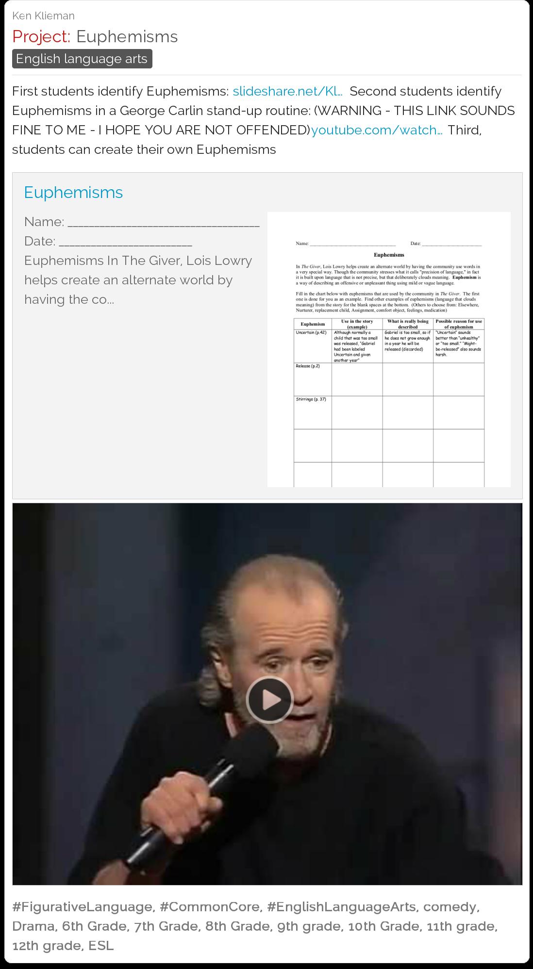 Euphemisms Lesson Plan With George Carlin Ela Middle School