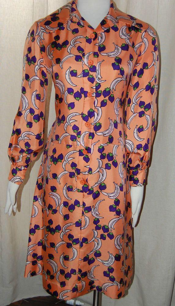 b2f29217a57 Vintage 60s Christian Dior Miss Dior Silk Fruit Print Mod Dress Size ...