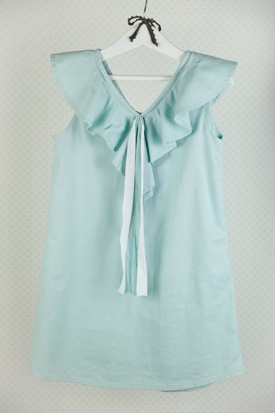 Talla 7 Vestido sin mangas y tela lisa en color aguamarina Su gran