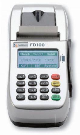first data fd100 ti with internal pin pad credit card reader