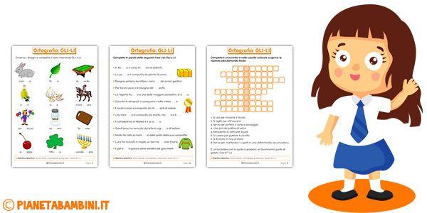 Schede didattiche su gli li da stampare didattica per for Parole con scu per bambini