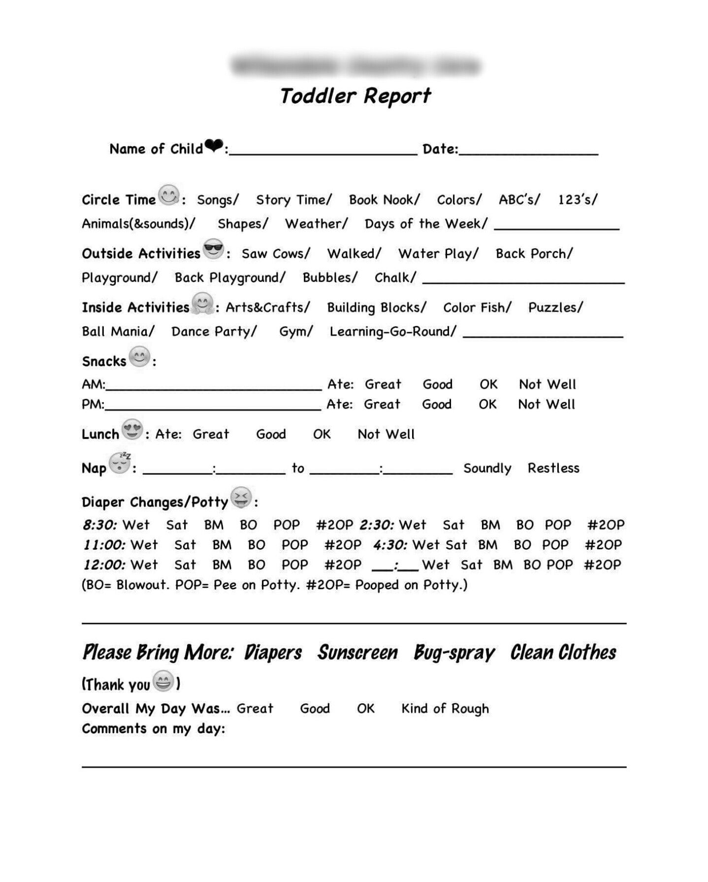 Made My Own Toddler Reports