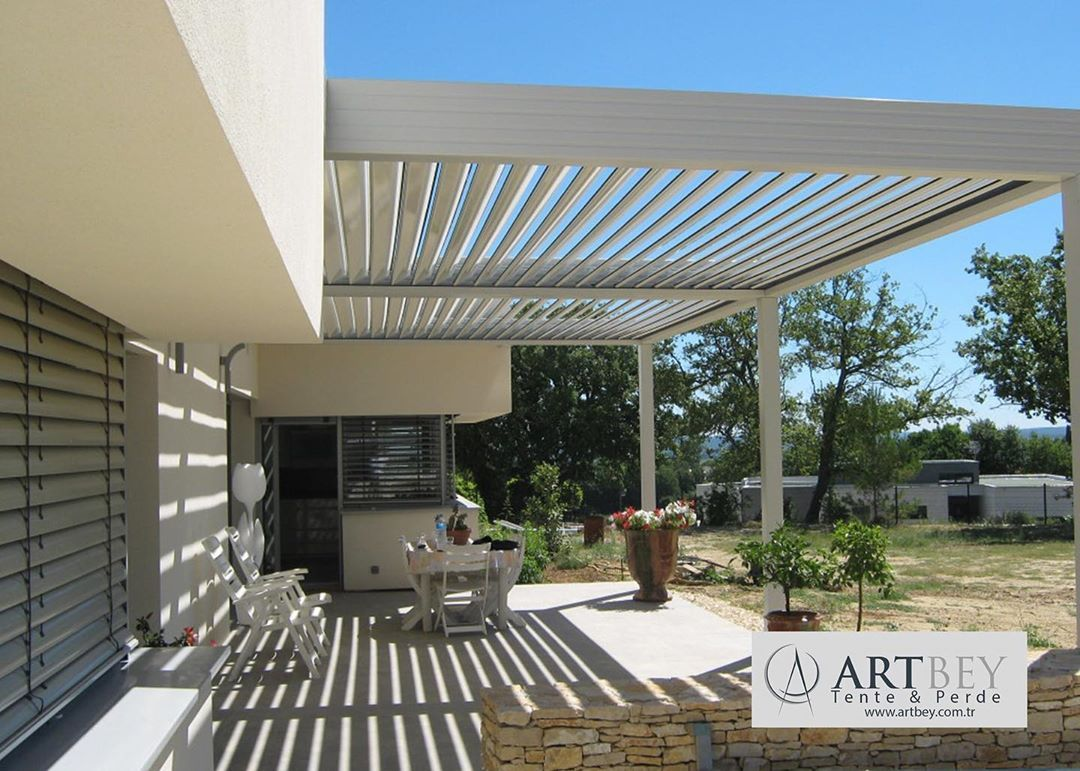 MOTORIZED LOUVERED PERGOLA STRUCTURES FOR RESIDENTIAL